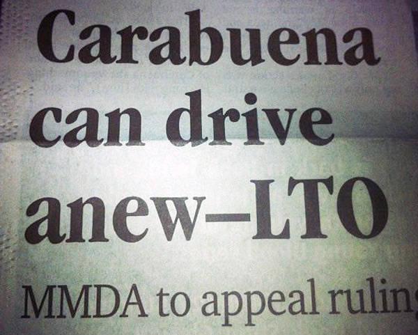LTO allows Carabuena to drive again
