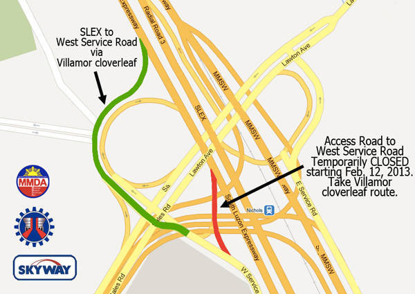 TopGear.com.ph Philippine Car News - MMDA to close access road from SLEX southbound to West Service Road