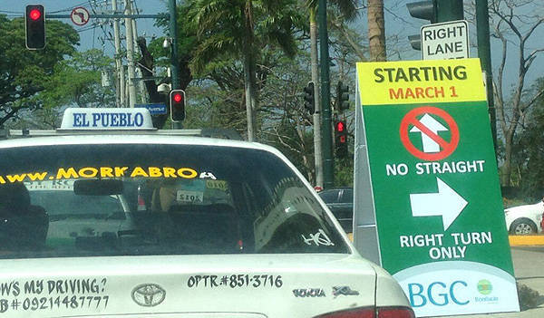TopGear.com.ph Philippine Car News - Motorists on BGC's McKinley Parkway advised to turn right on 5th Avenue