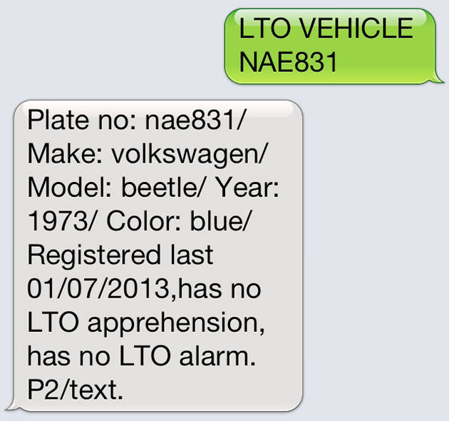 Find out a Vehicle's Details: Text its Plate Number to LTO