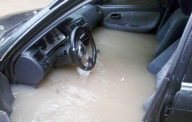 Flooded Toyota car