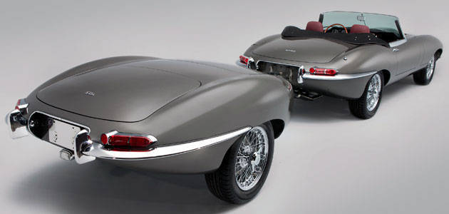 Stretched Jaguar E-Type with trailer