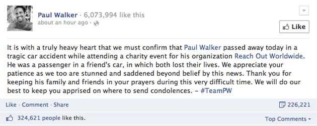 Announcement of Paul Walker's death