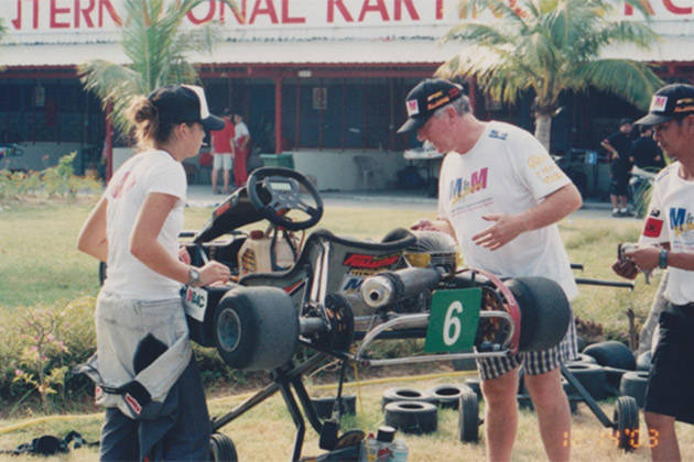 Michele Bumgarner: Prepping my kart with Terry in Langkawi, Malaysia (2003)
