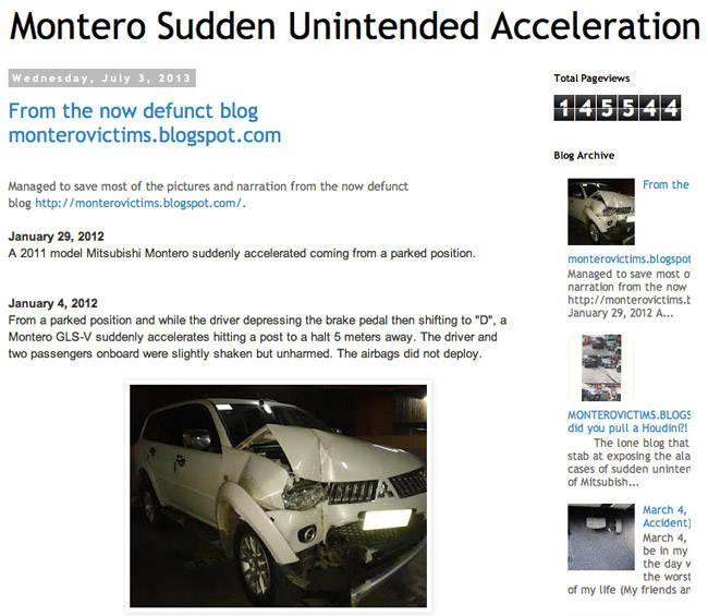 Montero Sport sudden unintended acceleration blog