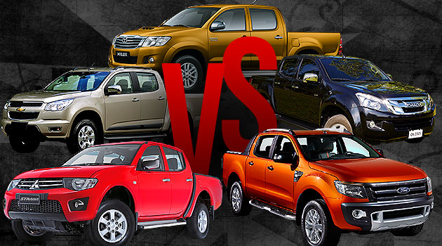 Ford Ranger vs. Mitsubishi Strada vs. Toyota Hilux vs. Isuzu D-Max vs. Chevrolet Colorado