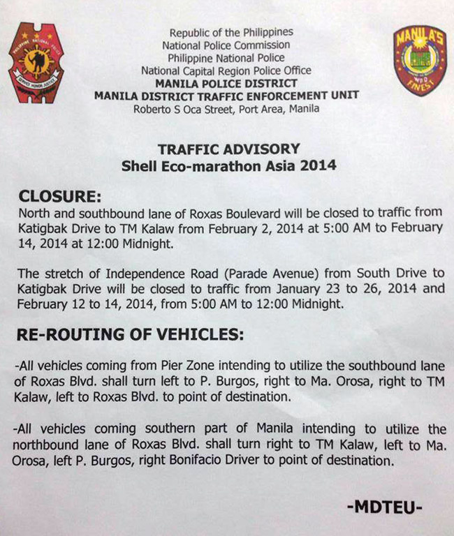 Manila Police District traffic advisory