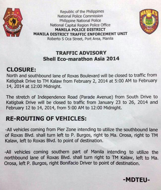 Manila Police District traffic advisory