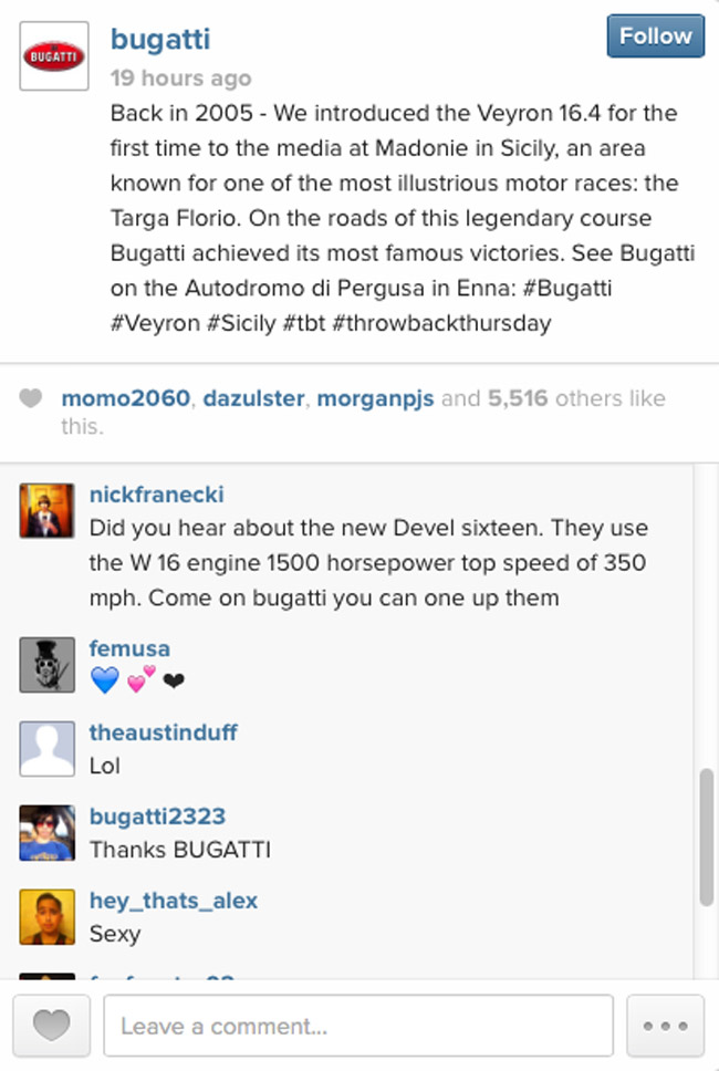 Bugatti on Instagram