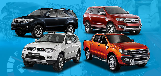 Toyota Fortuner vs. Mitsubishi Montero Sport vs. Ford Everest vs. Ranger Wildtrak