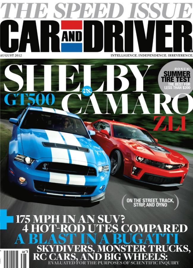 Car & Driver Camaro-Mustang cover