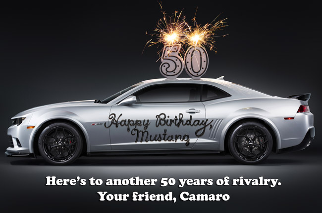 Chevrolet Camaro greets Ford Mustang happy 50th birthday