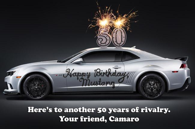 Chevrolet Camaro greets Ford Mustang happy 50th birthday