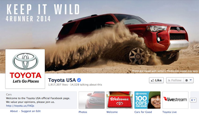Toyota USA's Facebook page