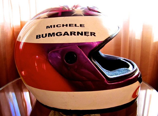 Michele Bumgarner's helmet color design evolution