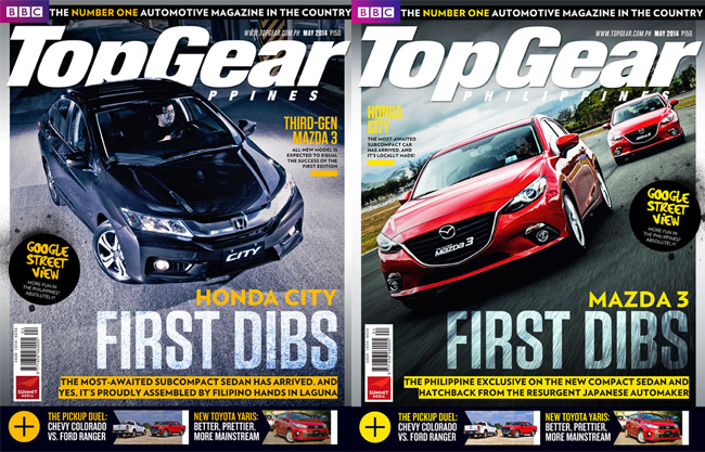 Two Top Gear Philippines covers for May: Honda City, Mazda 3
