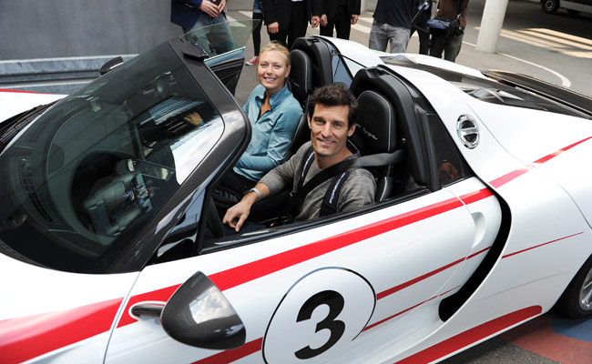 Mark Webber and Maria Sharapova in a Porsche 918 Spyder