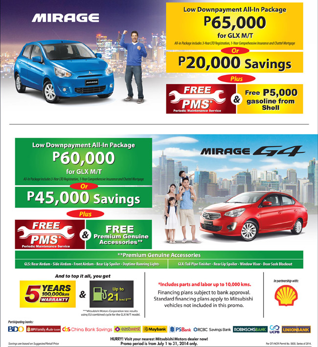 Mitsubishi Philippines entices Mirage, G4 shoppers with low downpayment schemes