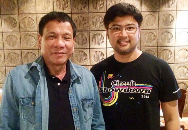Davao City Mayor Rodrigo Duterte with Enzo Pastor