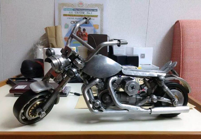 Motorcycle made from knickknacks