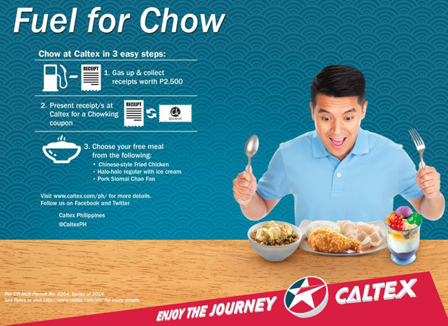 Get free Chowking food through Caltex's latest promo