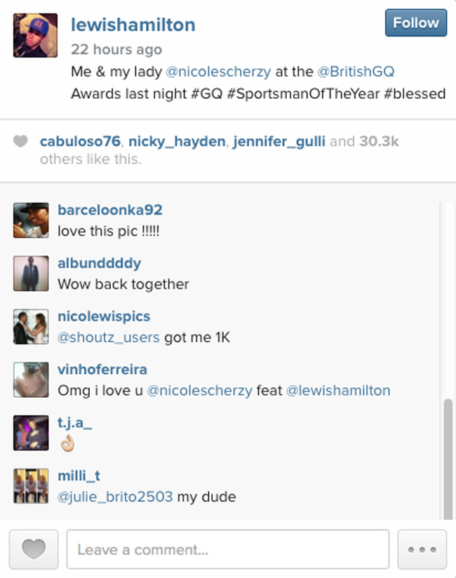Lewis Hamilton on Instagram