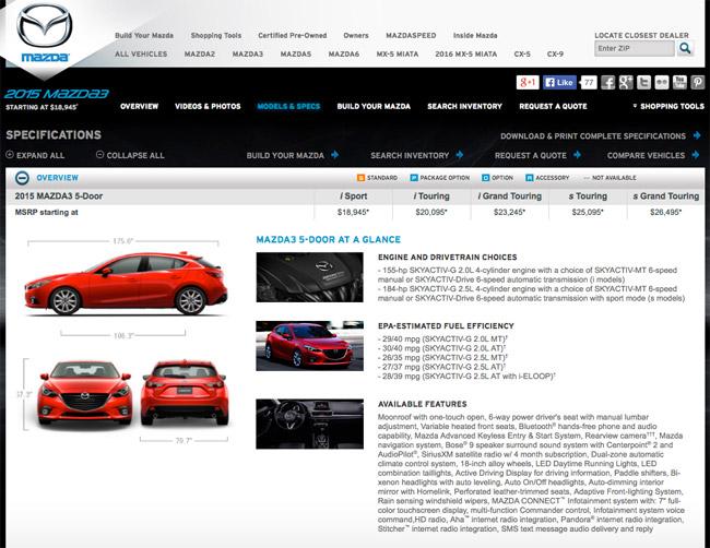 US-market Mazda 3