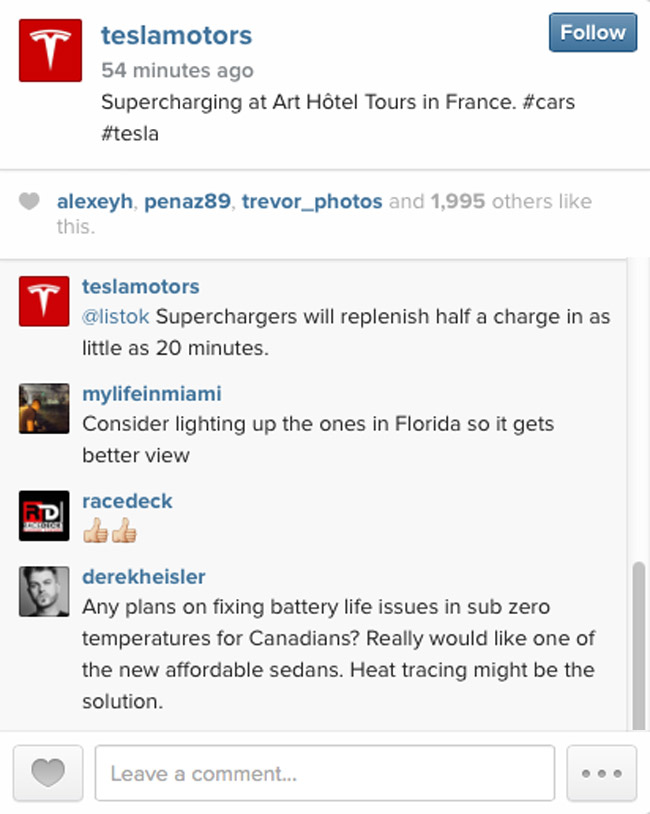 Tesla on Instagram