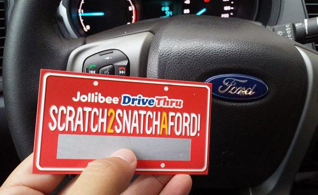 """Jollibee """"Scratch 2 Snatch a Ford"""" drive-thru promo"""