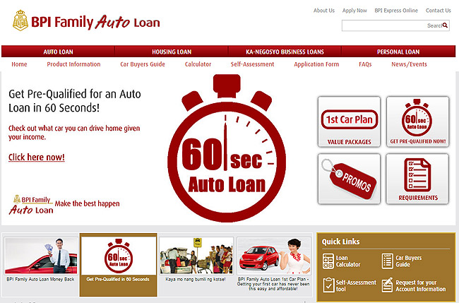 BPI Family Savings Bank lets you get a car loan pre-qualification in 60 seconds