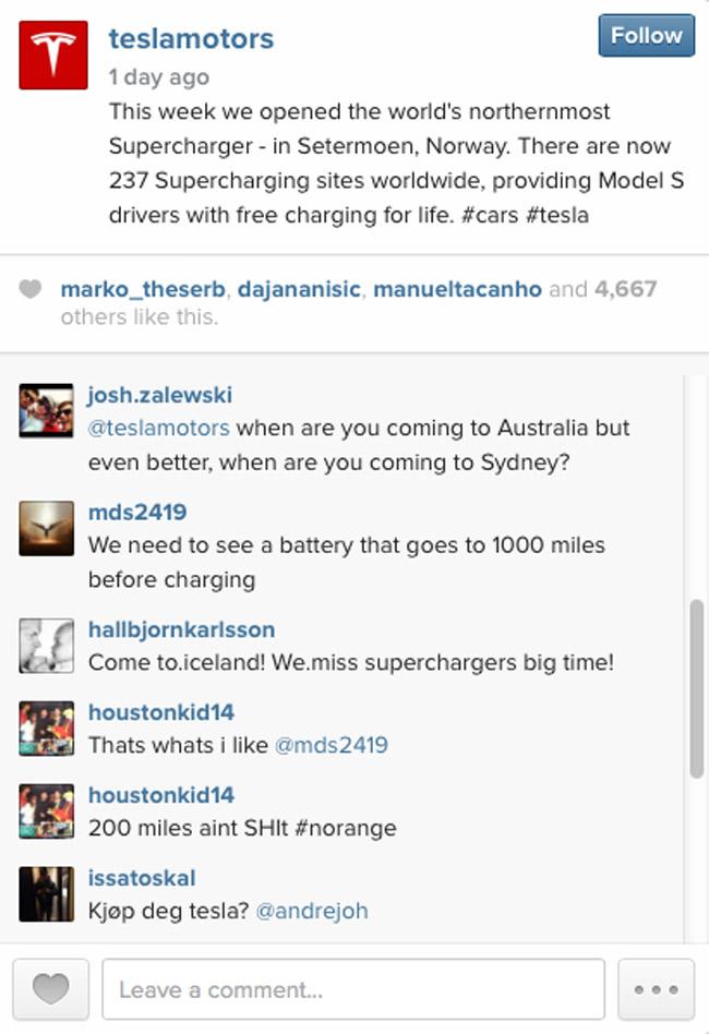 Tesla on Instagram