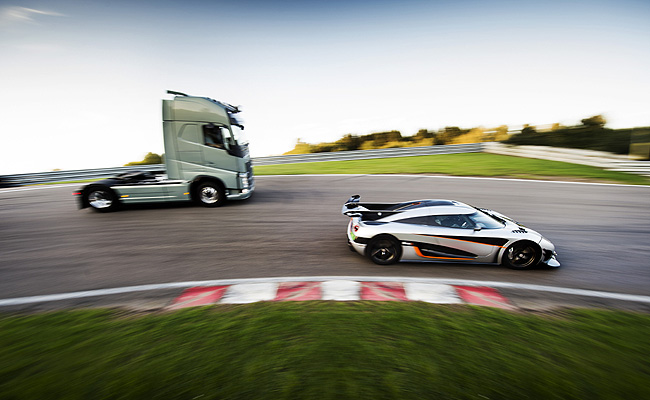 TopGear.com.ph Philippine Car News - Volvo Trucks pits the FH truck against the Koenigsegg One:1