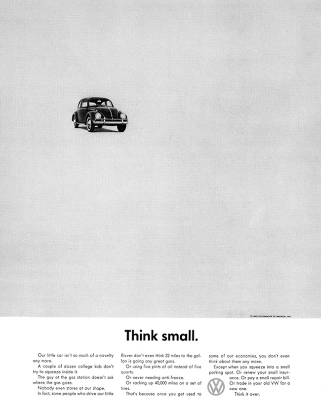 "1959 Volkswagen Beetle ""Think Small"" print ad"