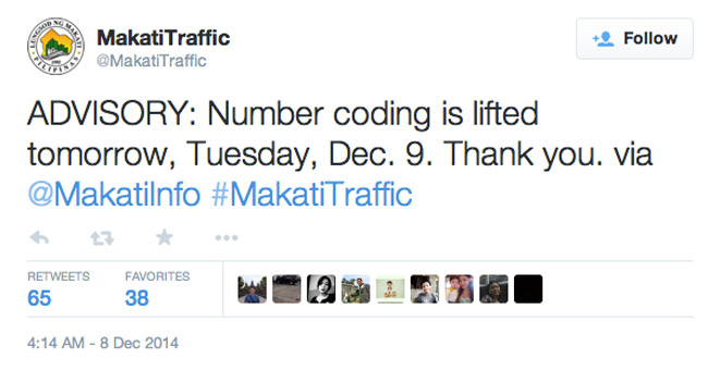 Makati Traffic tweets number-coding is lifted on December 9, 2014