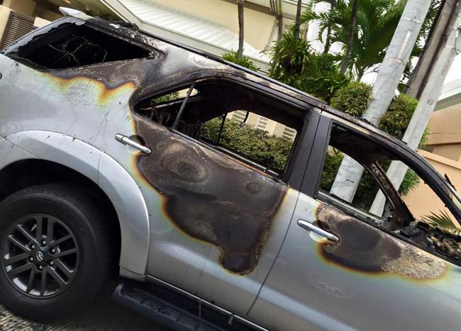 Burned Toyota Fortuner in Ayala Alabang Village