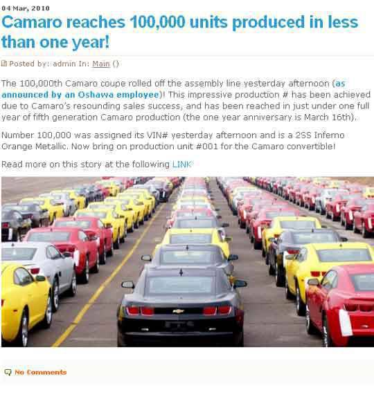 Camaro hits production milestone - report