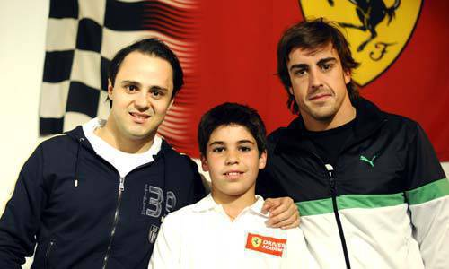 TopGear.com.ph Car News - Ferrari's 11-year old driver Laurence Stroll with Felipe Massa and Fernando Alonso