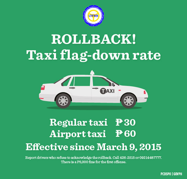 LTFRB hotlines for taxicabs that do not honor the flag-down rate reduction