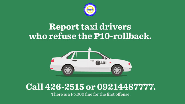 LTFRB hotlines for taxicabs that refuse to honor the flag-down-rate reduction