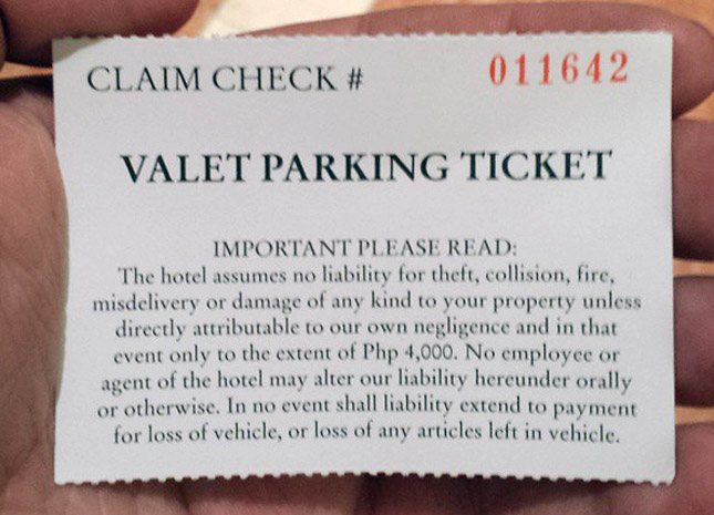 Valet parking disclaimer in the Philippines