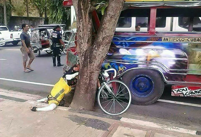 Bicycle accident in the Philippines