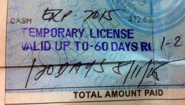 Temporary driver's license in the Philippines