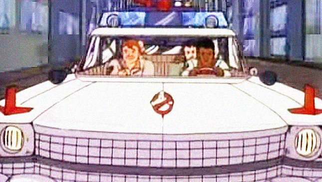 The Ecto-1 and the Ghostbusters