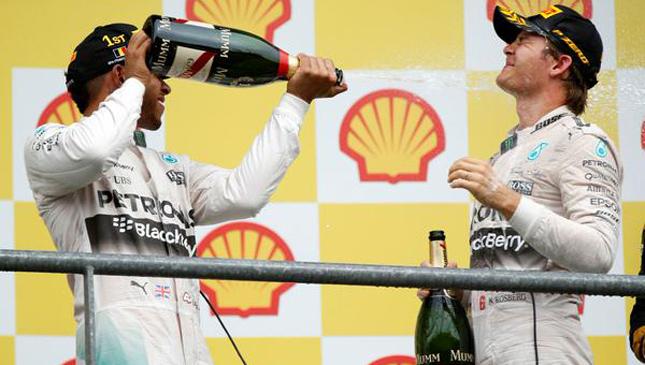 Mercedes celebrating