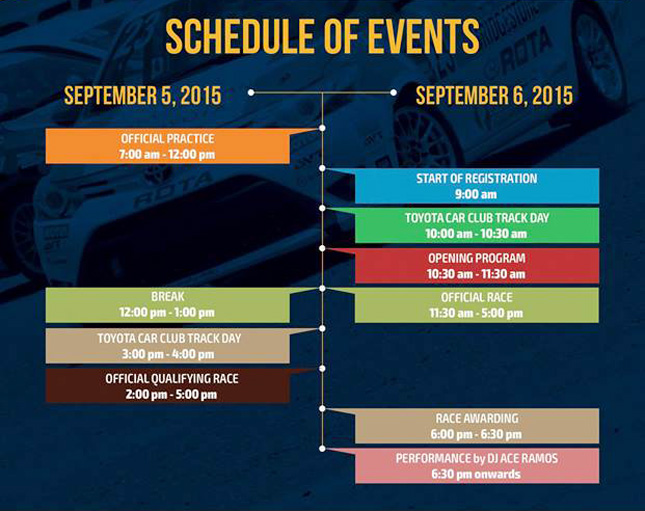 Toyota Vios Cup schedule of events