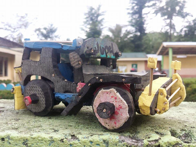 11-year-old Jupel's toy vehicles from discarded flip-flops