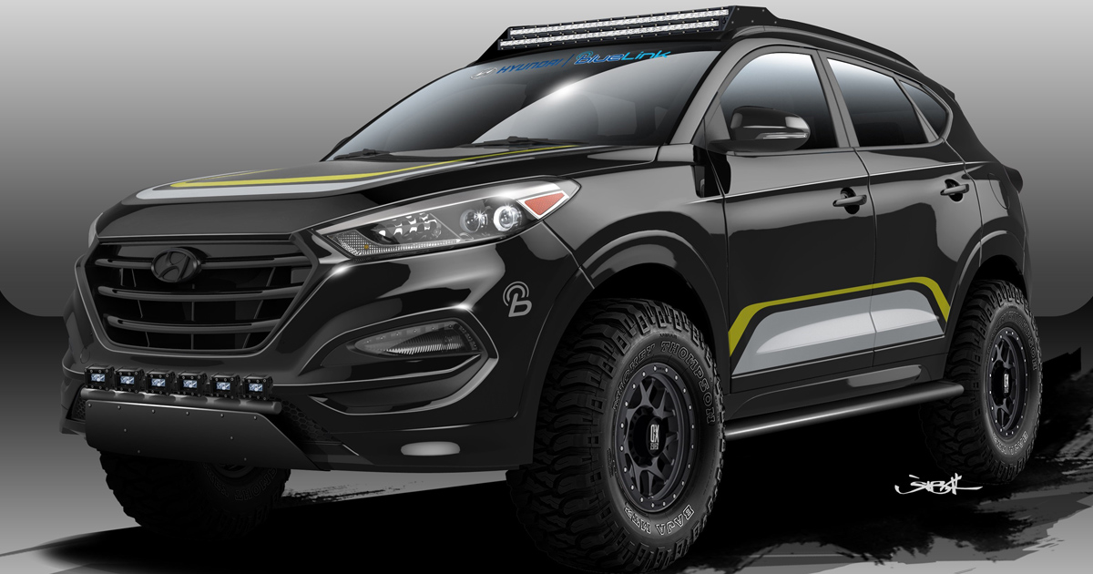 this sema bound hyundai tucson looks sinister. Black Bedroom Furniture Sets. Home Design Ideas