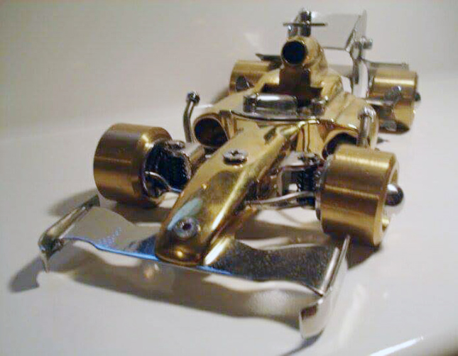 Steel-and-brass Formula 1 scale model