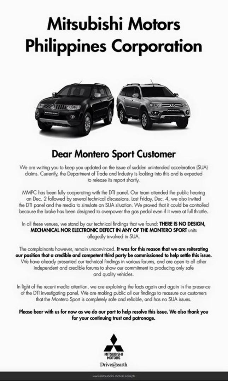 Mitsubishi Motors Philippines statement