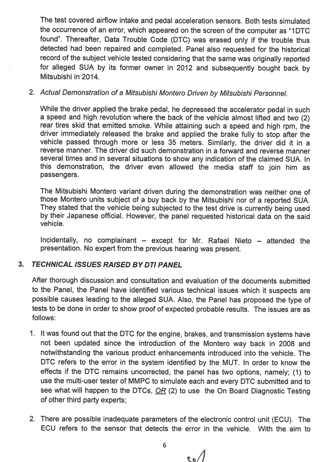 DTI report on Mitsubishi Montero Sport's SUA case